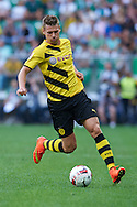 Lukasz Piszczek of Dorussia Dortmund controls the ball during international friendly soccer match between WKS Slask Wroclaw and BVB Borussia Dortmund on Municipal Stadium in Wroclaw, Poland.<br /> <br /> Poland, Wroclaw, August 6, 2014<br /> <br /> Picture also available in RAW (NEF) or TIFF format on special request.<br /> <br /> For editorial use only. Any commercial or promotional use requires permission.<br /> <br /> Mandatory credit:<br /> Photo by © Adam Nurkiewicz / Mediasport