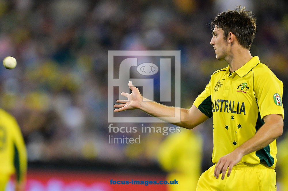 Mitchell Marsh of Australia catches the ball during the 2015 ICC Cricket World Cup match at Melbourne Cricket Ground, Melbourne<br /> Picture by Frank Khamees/Focus Images Ltd +61 431 119 134<br /> 14/02/2015