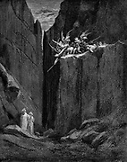 Dante protected by Virgil from harm by demons. Dante Alighieri 'Inferno' , first part of his 'Divina Commedia' (Divine Comedy) Canto XXXIII. From 1863 edition illustrated by Gustave Dore. Wood engraving