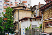 Old Soviet era building in Strada Spatarului in sector 2 of the Old Town, Bucharest, Romania,