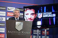 Atletico de Madrid´s President Enrique Cerezo during Cristian Ansaldi´s presentation as a new Atletico de Madrid´s new player at Vicente Calderon stadium in Madrid, Spain. August 18, 2014. (ALTERPHOTOS/Victor Blanco)