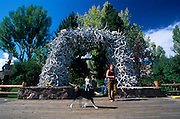 Elk Antler Arch in Town Square, Jackson, Wyoming..Subject photograph(s) are copyright Edward McCain. All rights are reserved except those specifically granted by Edward McCain in writing prior to publication...McCain Photography.211 S 4th Avenue.Tucson, AZ 85701-2103.(520) 623-1998.mobile: (520) 990-0999.fax: (520) 623-1190.http://www.mccainphoto.com.edward@mccainphoto.com