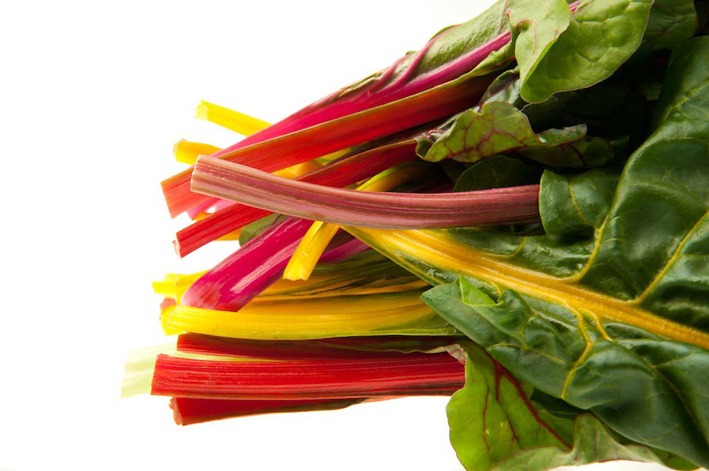 Profile of Swiss chard with colorful stems