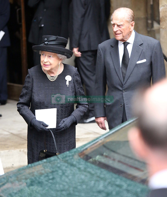 Queen Elizabeth II and the Duke of Edinburgh leave the funeral of Countess Mountbatten of Burma at St Paul's Church, Knightsbridge, London.