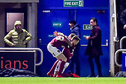 Northampton Town defender Shay Facey (24) scores a goal and celebrates  1-0 during the EFL Sky Bet League 1 match between Northampton Town and Shrewsbury Town at Sixfields Stadium, Northampton, England on 20 March 2018. Picture by Dennis Goodwin.