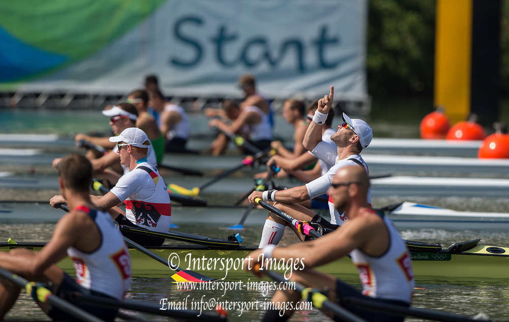 Rio de Janeiro. BRAZIL.   GER M2X, Bow man Marcel HACKER, goes through a pre Race ritual 2016 Olympic Rowing Regatta. Lagoa Stadium,<br /> Copacabana,  &ldquo;Olympic Summer Games&rdquo;<br /> Rodrigo de Freitas Lagoon, Lagoa.   Tuesday  09/08/2016 <br /> <br /> [Mandatory Credit; Peter SPURRIER/Intersport Images]