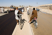 Helmand,  24 September 2006. .Road construction in Lashkargah City