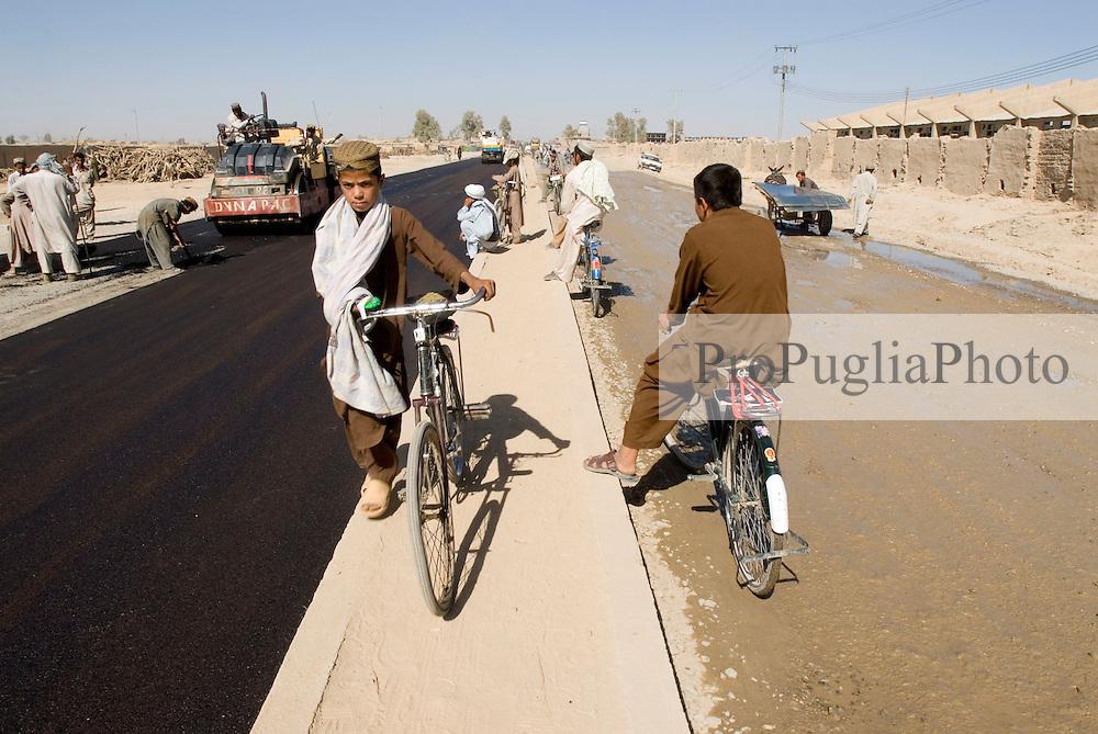 Helmand,  24 September 2006. .Road construction in Lashkargah City
