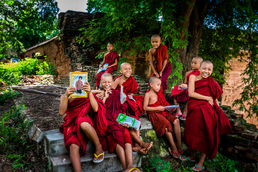 Novice monks on the grounds of their monestary, Bagan, Myanmar