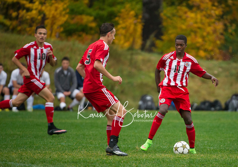 St Paul's School varsity boys soccer with Nobles.  ©2014 Karen Bobotas Photographer