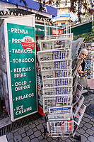 British & most foreign newspapers are widely available in Spain. This newspaper stand is in Estepona, Malaga Province, February, 2020, 202002142176<br /><br />Copyright Image from Victor Patterson, Belfast, UK<br />t: +44 28 9066 1296 <br />(from Rep of Ireland 048 9066 1296) <br />m: +44 7802 353836 <br />victorpattersonbelfast@gmail.com <br />www.victorpatterson.com<br /><br />Please see my Terms and Conditions of Use at https://www.victorpatterson.com/page2 <br /><br />It is IMPORTANT that you familiarise yourself with them.<br /><br />Images used on the Internet incur an additional cost and must be visibly watermarked i.e. © Victor Patterson within the body of the image and copyright metadata must not be deleted. Images used on the Internet have a size restriction of 4kbs and are chargeable at rates available at victorpatterson.com.<br /><br />This image is only available for the use of the download recipient i.e. television station, newspaper, magazine, book publisher, etc, and must not be passed on to any third party. It is also downloaded on condition that each and every usage is notified within 7 days to victorpattersonbelfast@gmail.com<br /><br />The right of Victor Patterson to be identified as the author is asserted in accordance with The Copyright Designs And Patents Act (1988). All moral rights are asserted.