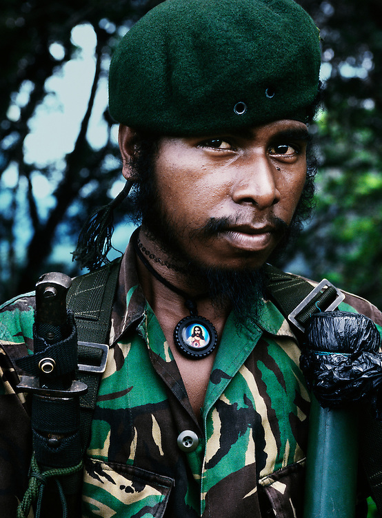 Falintil soldier whose revolutionary name is Halai Sai. <br /> <br /> He was imprisoned in 1998 by the Indonesian military, although managed to escape after a few months.<br /> <br /> East Timor, March 1999.
