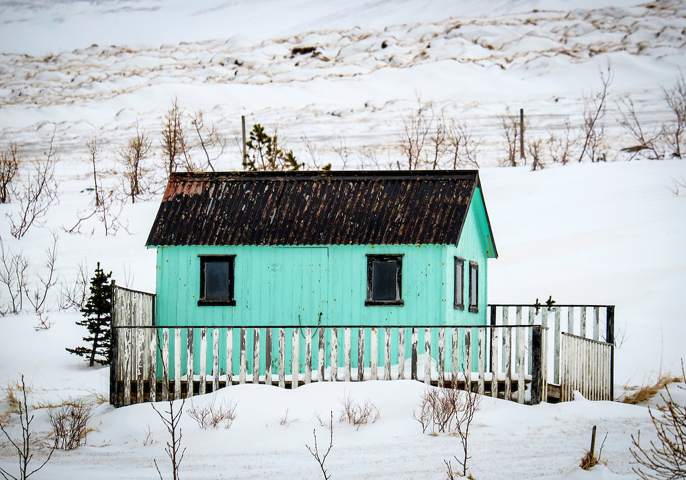 ICELAND - CIRCA MARCH 2015: Cabin close to the Route 1 in Iceland during winter time.