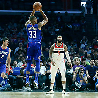 09 December 2017: LA Clippers forward Wesley Johnson (33) takes a jump shot during the LA Clippers 113-112 victory over the Washington Wizards, at the Staples Center, Los Angeles, California, USA.