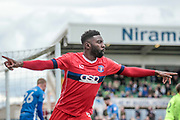 Jabo Ibehre (Carlisle United) turns to celebrate scoring the opening goal of the game. 1-0 to the visitors during the EFL Sky Bet League 2 match between Hartlepool United and Carlisle United at Victoria Park, Hartlepool, England on 14 April 2017. Photo by Mark P Doherty.