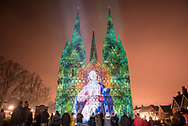 Lichfield Cathedral, Lichfield, Staffordshire, UK. 19th December 2017.  With Christmas fast approaching, hundreds of visitors were treated to spectacular visuals projected across Lichfield's iconic cathedral. This year's son-et-lumiere theme - 'Star of Wonder, Star of Light' - saw the Luxmuralis project present the nativity story in images and sounds across the west front of the cathedral and all around The Close. // Lee Thomas, Tel. 07784142973. Email: leepthomas@gmail.com  www.leept.co.uk (0000635435)