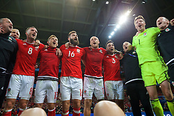 LILLE, FRANCE - Friday, July 1, 2016: Wales players celebrate in the team huddle following a 3-1 victory over Belgium and reaching the Semi-Final during the UEFA Euro 2016 Championship Quarter-Final match at the Stade Pierre Mauroy. Andy King, George Williams, Joe Ledley, David Cotterill, Neil Taylor, Kevin McCusker, goalkeeper Wayne Hennessey. (Pic by David Rawcliffe/Propaganda)