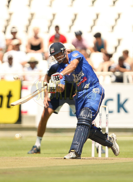 Owais Shah of the Nashua Mobile Cape Cobras skies the ball during the annual Pick n Pay Newlands Challenge between the Nashua Mobile Cape Cobras and the DHL Stormers played at Sahara Park Newlands in Cape Town, South Africa on 13 February 2011. Photo by Jacques Rossouw/S PORTZPICS