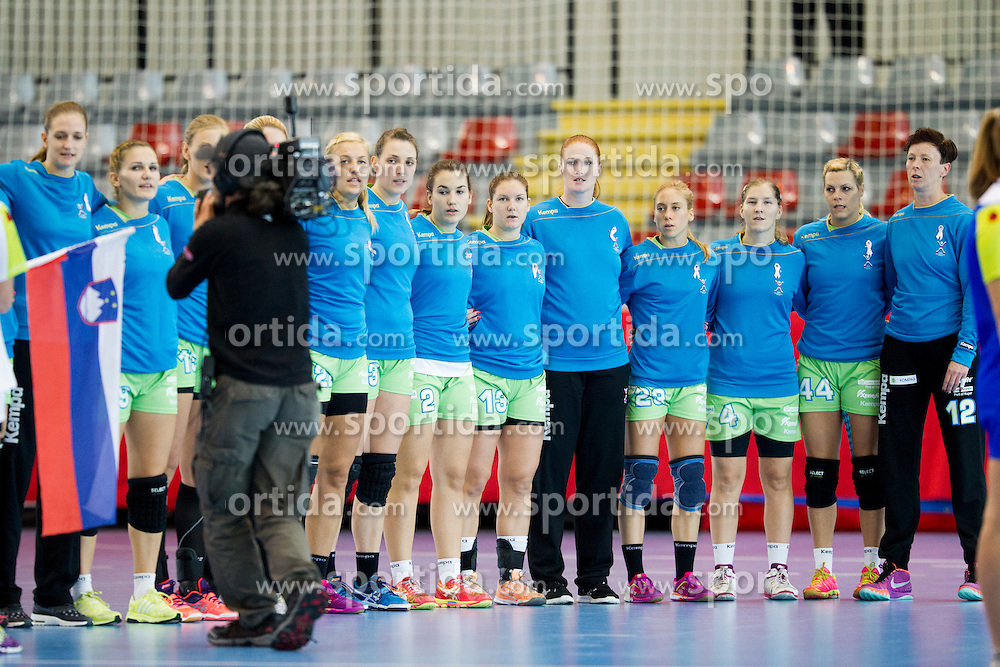 Players of Slovenia during handball match between Women National Teams of Slovenia and Montenegro in 2016 Women's European Championship Qualification, on October 11, 2015 in Arena Kodeljevo, Ljubljana, Slovenia. Photo by Urban Urbanc / Sportida