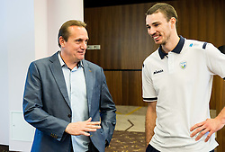 Metod Ropret, president of OZS and Alen Pajenk during press conference of Slovenian Volleyball Federation before FIVB Volleyball World League tournament in Ljubljana, on May 5, 2016 in Hotel Spik, Gozd Martuljek, Slovenia. Photo by Vid Ponikvar / Sportida