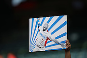 ANAHEIM, CA - AUGUST 2:  A fan holds up a piece of art work featuring Jose Reyes #7 of the Toronto Blue Jays during the game against the Los Angeles Angels of Anaheim on Friday, August 2, 2013 at Angel Stadium in Anaheim, California. The Angels won the game 7-5. (Photo by Paul Spinelli/MLB Photos via Getty Images)