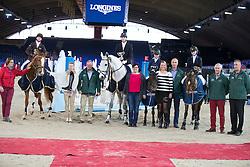 Winkel Senne, (BEL), Baxte de Loou, De Graaf Femke, (BEL), Joker van La Rosteehoeve, Van Opstal Shauni, (BEL), Danouska B vh Juxschot, Oste Yenthe, (BEL), Beekzicht's Nina <br /> Super Final Youth Cup VLP-LRV<br /> Vlaanderen Kerstjumping - Memorial Eric Wauters - <br /> Mechelen 2015<br /> © Hippo Foto - Dirk Caremans<br /> 30/12/15