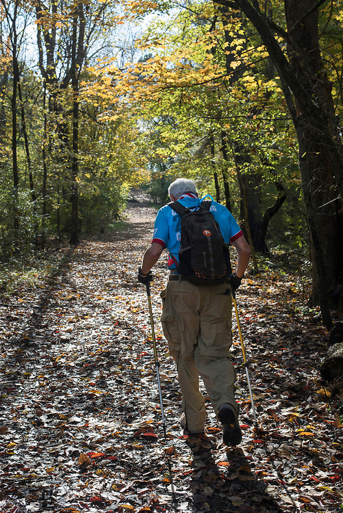 Retired attorney Michael Bleirer trekking in Mt Lebanon's Bird Park.