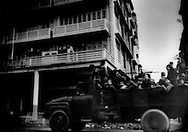 Truck full of Burmese military troops on a Yangon street, Burma (Myanmar).