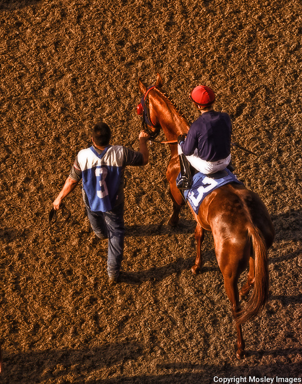 Jockey, groom and Thoroughbred enter Del Mar Track. Photo by Nebraska Sports Photographer Barry A Mosley