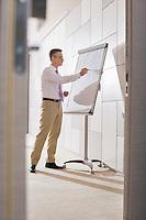 Businessman preparing for presentation on flipchart in office