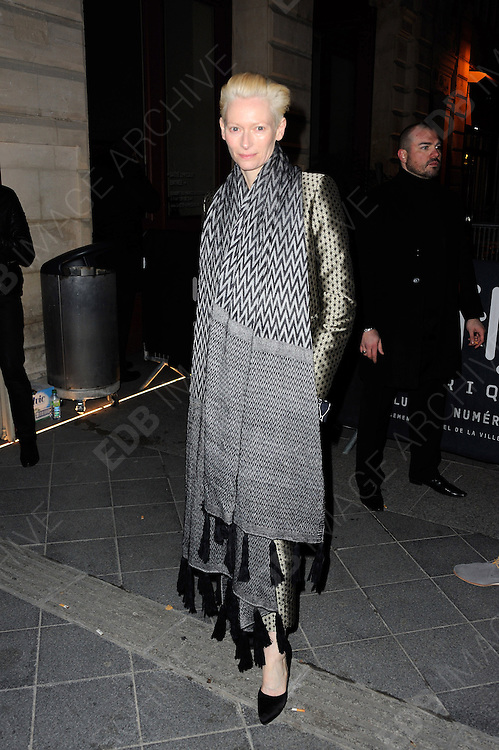 03.MARCH.2013. PARIS<br /> <br /> TILDA SWINTON ATTENDS THE DIESEL PARTY HELD IN THE GAITE LYRIQUE AS PART OF THE FALL-WINTER 2013/2014 READY-TO-WEAR FASHION WEEK IN PARIS.<br /> <br /> BYLINE: EDBIMAGEARCHIVE.CO.UK<br /> <br /> *THIS IMAGE IS STRICTLY FOR UK NEWSPAPERS AND MAGAZINES ONLY*<br /> *FOR WORLD WIDE SALES AND WEB USE PLEASE CONTACT EDBIMAGEARCHIVE - 0208 954 5968*