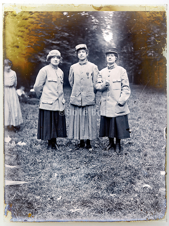 memory portrait of female group during a reenactment event of war battle 1900s France