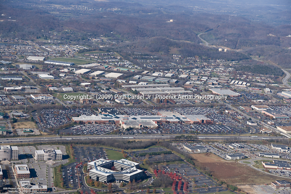 Aerial photo showing the CoolSprings Gallerial Mall in Franklin Tennessee on Black Friday.