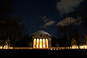 The rotunda of the University of Virginia, photographed in the evening by moonlight.