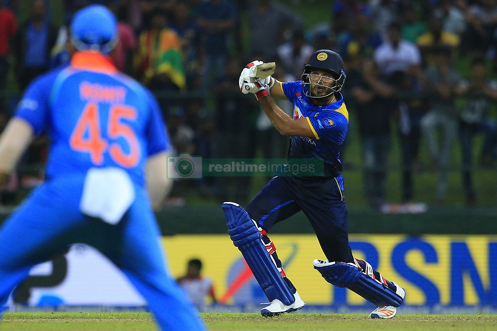 August 24, 2017 - Kandy, Sri Lanka - Sri Lanka's Milinda Siriwardana plays a shot during the 2nd One Day International cricket match between Sri Lanka and India at the Pallekele international cricket stadium at Kandy, Sri Lanka on Thursday 24 August 2017. (Credit Image: © Tharaka Basnayaka/NurPhoto via ZUMA Press)