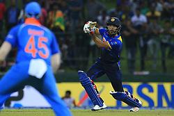 August 24, 2017 - Kandy, Sri Lanka - Sri Lanka's Milinda Siriwardana plays a shot during the 2nd One Day International cricket match between Sri Lanka and India at the Pallekele international cricket stadium at Kandy, Sri Lanka on Thursday 24 August 2017. (Credit Image: © Tharaka Basnayaka/NurPhoto via ZUMA Press)