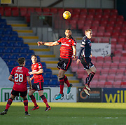8th May 2018, Global Energy Stadium, Dingwall, Scotland; Scottish Premiership football, Ross County versus Dundee; Steven Caulker of Dundee heads clear from Billy McKay of Ross County