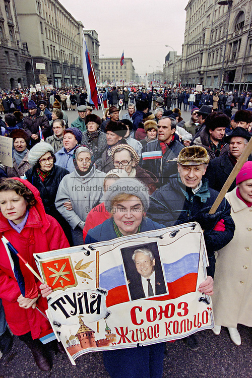 Thousands of Russian citizens march in support of President Boris Yeltsin to Red Square March 28, 1993 in Moscow, Russia. The supporters marched through central Moscow ending in Red Square where Yeltsin addressed the crowd.