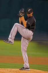 June 28, 2011; Oakland, CA, USA; Florida Marlins starting pitcher Javier Vazquez (23) pitches against the Oakland Athletics during the first inning at the O.co Coliseum. Oakland defeated Florida 1-0.