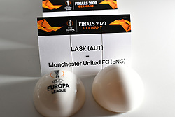 NYON, SWITZERLAND - Friday, July 10, 2020: The draw card for LASK and Manchester United pictured before the Europa League pictured before the UEFA Champions League and UEFA Europa League 2019/20 draws for the Quarter-final, Semi-final and Final at the UEFA headquarters, The House of European Football. (Photo Handout/UEFA)