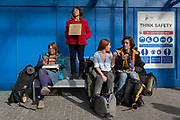 Passengers are disrupted outside the terminal building as environmental activists protest about Climate Change during the occupation of City Airport (London's Business Travel hub) in east London, the fourth day of a two-week prolonged worldwide protest by members of Extinction Rebellion, on 10th October 2019, in London, England.