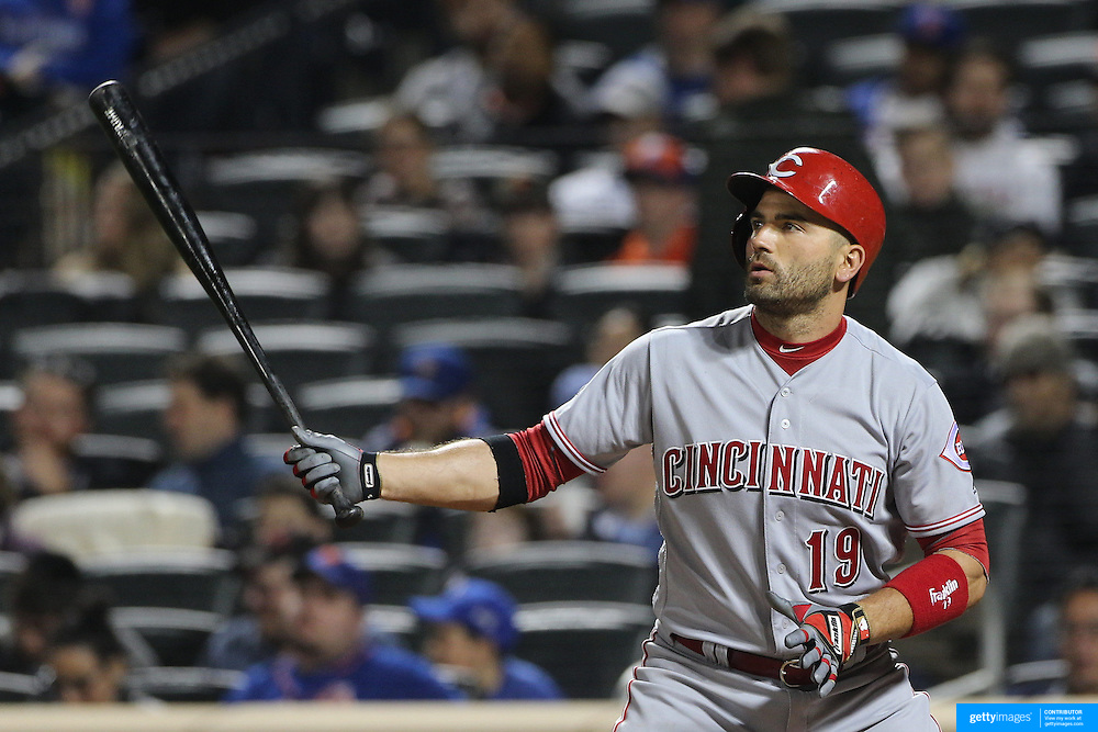 NEW YORK, NEW YORK - APRIL 25: Joey Votto #19 of the Cincinnati Reds batting during the New York Mets Vs Cincinnati Reds MLB regular season game at Citi Field on April 25, 2016 in New York City. (Photo by Tim Clayton/Corbis via Getty Images)