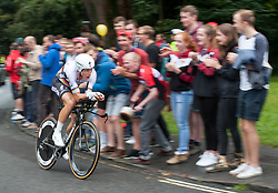 © Licensed to London News Pictures. 10/09/2016. Bristol, UK. The Tour of Britain cycle race 2016. Picture of Tony Martin (Etixx-QuickStep) taking the stage win on the short and fast 15-kilometre course time trial, clocking 18-06. Photo credit : Simon Chapman/LNP