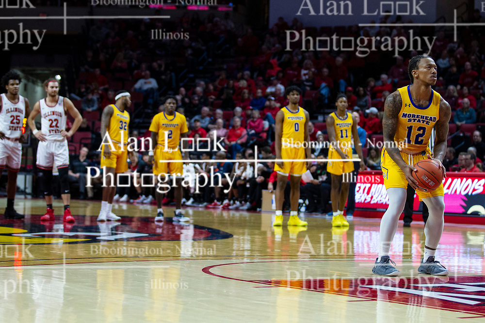NORMAL, IL - December 07: After review of a play, Justin Thomas shoots a pair of free throws as the play was determined to be flagrant during a college basketball game between the ISU Redbirds and the Morehead State Eagles on December 07 2019 at Redbird Arena in Normal, IL. (Photo by Alan Look)