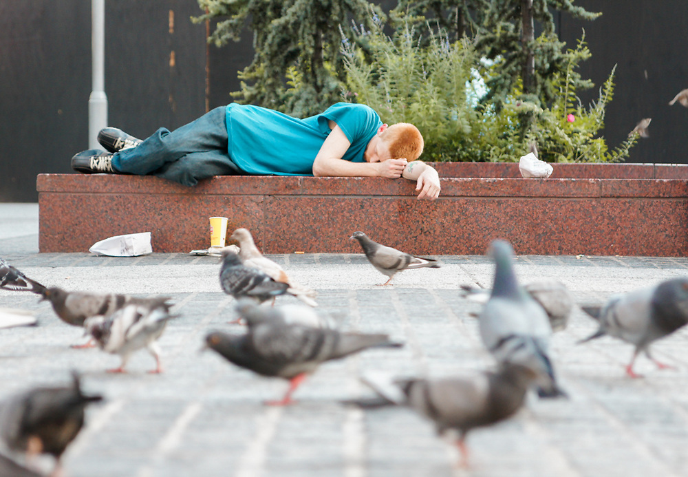 Red headed boy sleeps in esplanade with birds around. NYC 2011