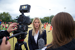 CARDIFF, WALES - Tuesday, August 21, 2014: Welsh Premier Women's League Representative Trisha Turner talks to the media about the first Live Your Goals festival in Cardiff. (Pic by David Rawcliffe/Propaganda)