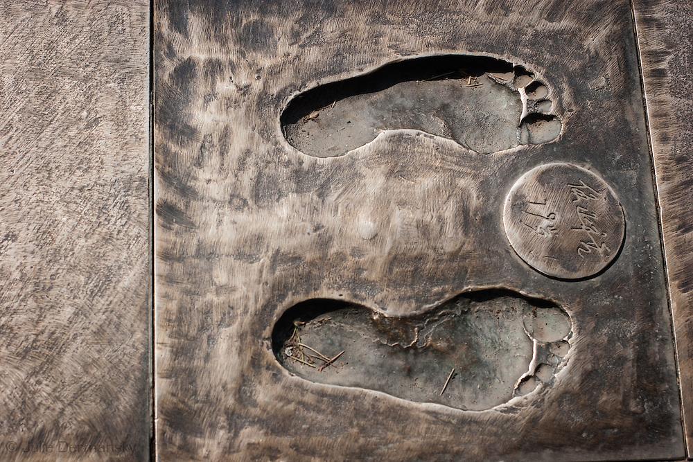 Bronze footprint walkway at i the Nanjing Massacre Memorial