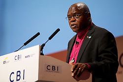 © Licensed to London News Pictures. 10/11/2014. LONDON, UK. John Sentamu, Archbishop of York delivers a speech at the 2014 Confederation of British Industry (CBI) Conference, held at the Grosvenor House in London. Photo credit : Tolga Akmen/LNP