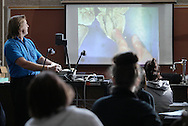 Dr. Walter Jahn, left, shows students the inside of a sheep's heart during an anatomy and physiology lab at SUNY Orange in Middletown on Thursday, July 16, 2009.