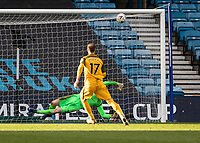 Football - 2018 / 2019 Emirates FA Cup - Sixth Round, Quarter Final : Millwall vs. Brighton<br /> <br /> Glenn Murray (Brighton & Hove Albion) strikes the crossbar with Brighton's first penalty at The Den.<br /> <br /> COLORSPORT/DANIEL BEARHAM
